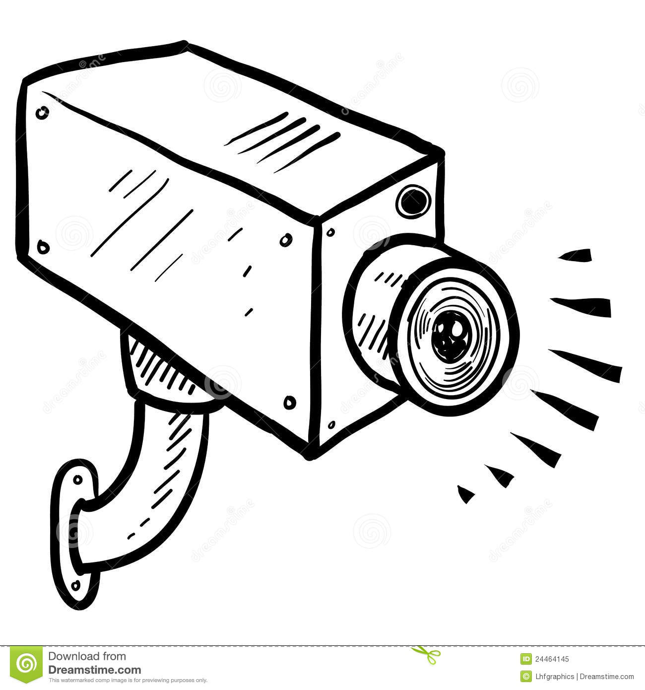 cctv security camera sketch stock vector