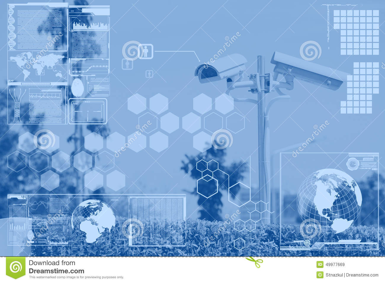 CCTV or surveillance with technology screen layer