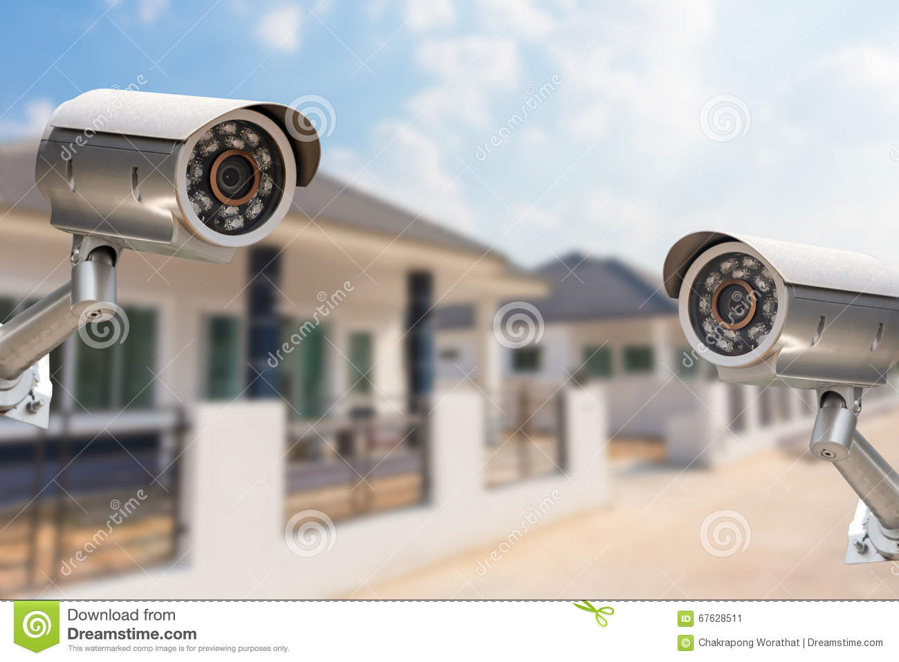 Cctv town home camera security operating at house stock - Camera de surveillance factice ...