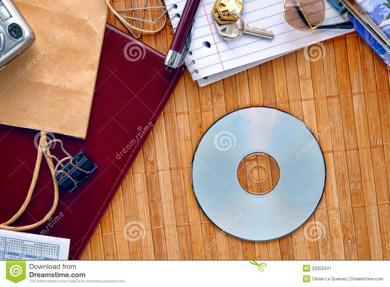 CD or DVD Disc on Messy Desk with Blank Copy Space