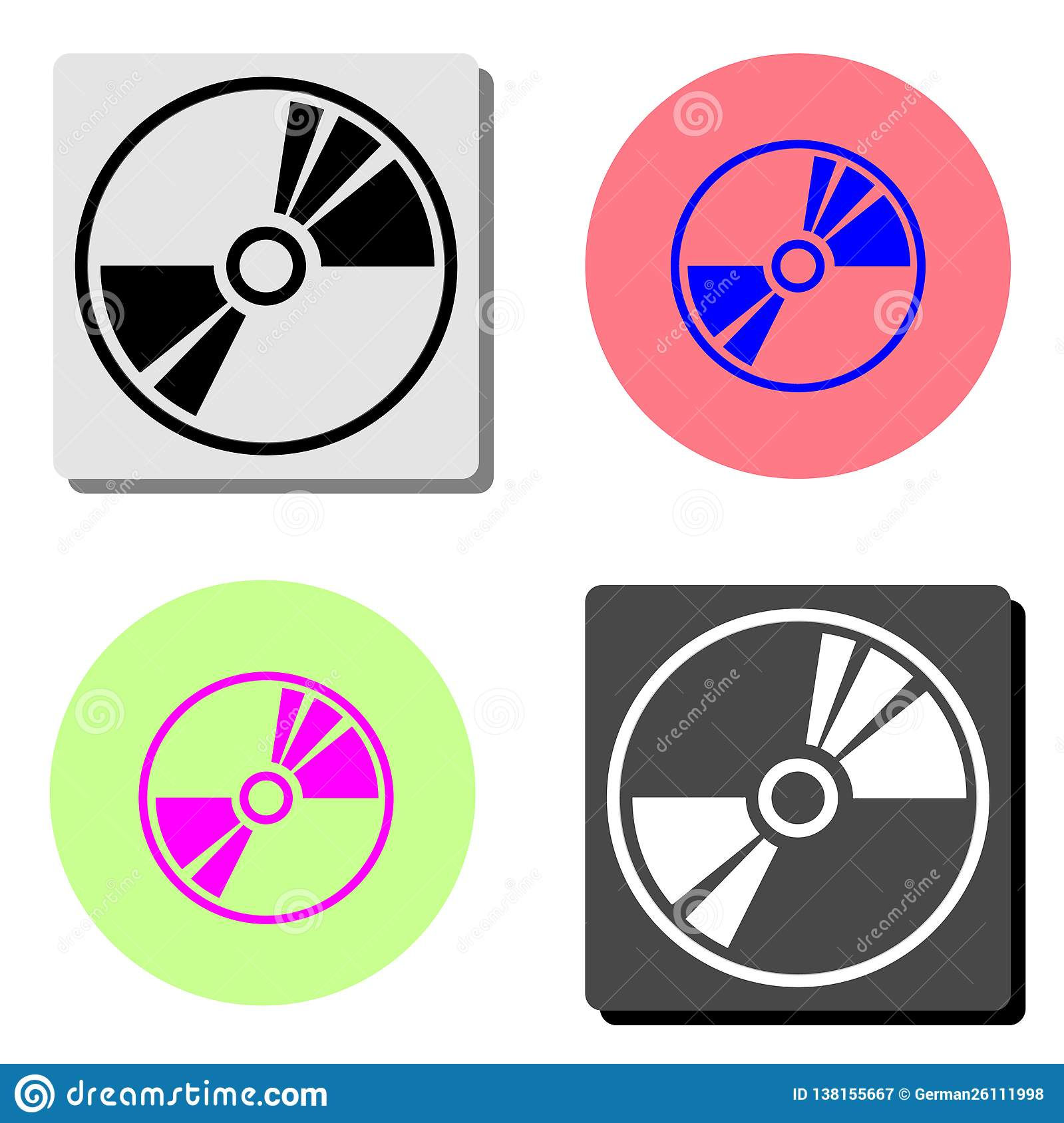 Cd ou dvd Icône plate de vecteur