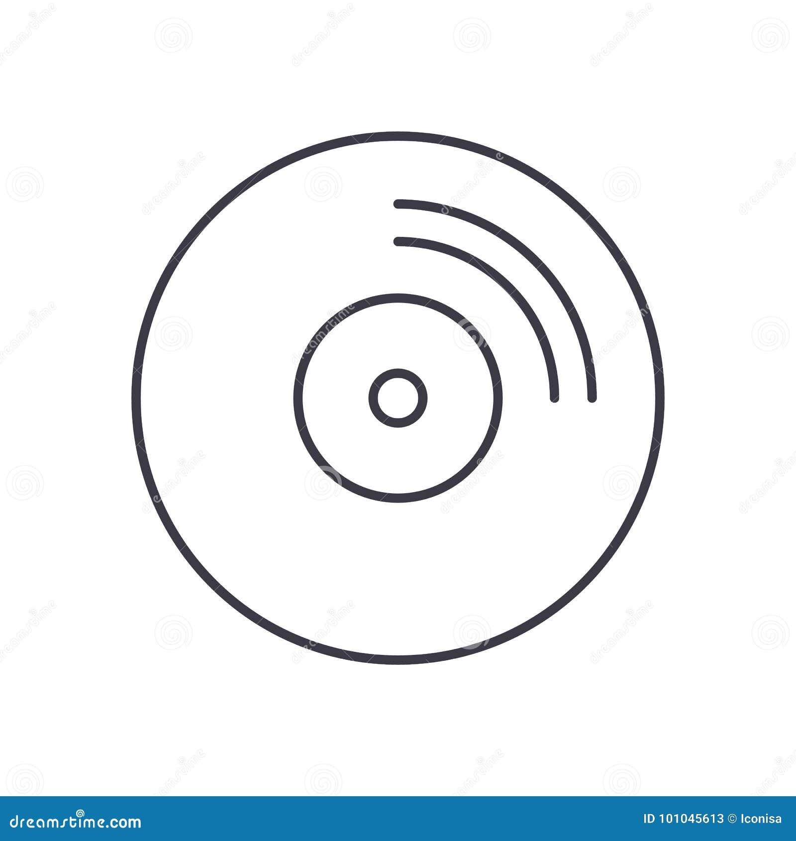 CD-pictogram van de schijf het vectorlijn, teken, illustratie op achtergrond, editable slagen