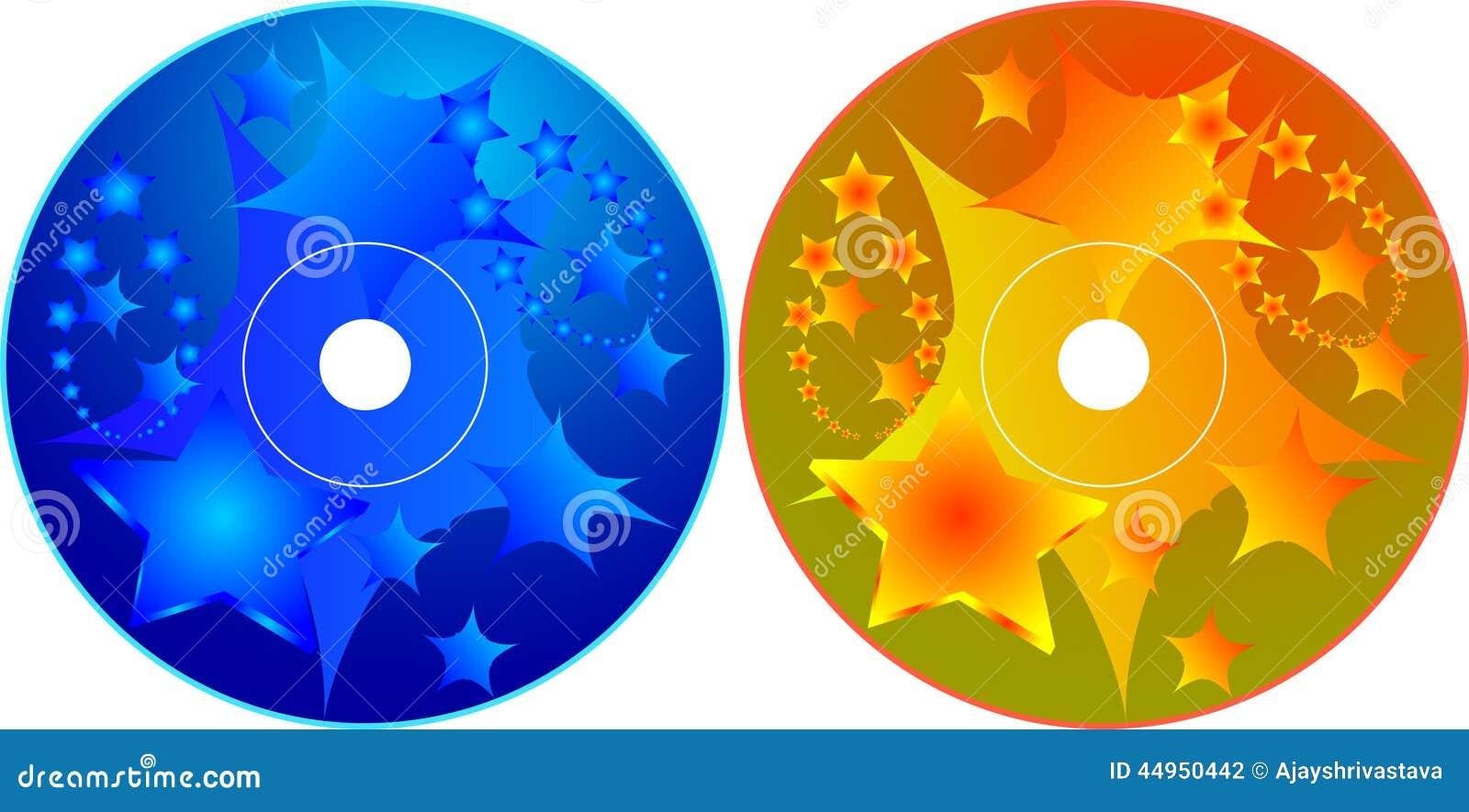 Cd - Plantilla Del Diseño De La Etiqueta Del DVD Ilustración del ...