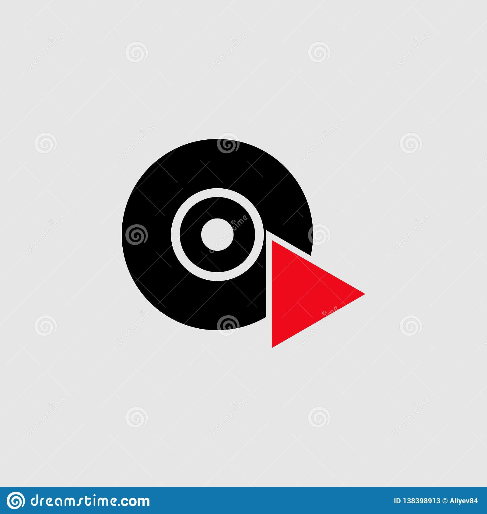 Cd player with triangle icon. Element of Theatre icon for mobile concept and web apps. Detailed Cd player with triangle icon can