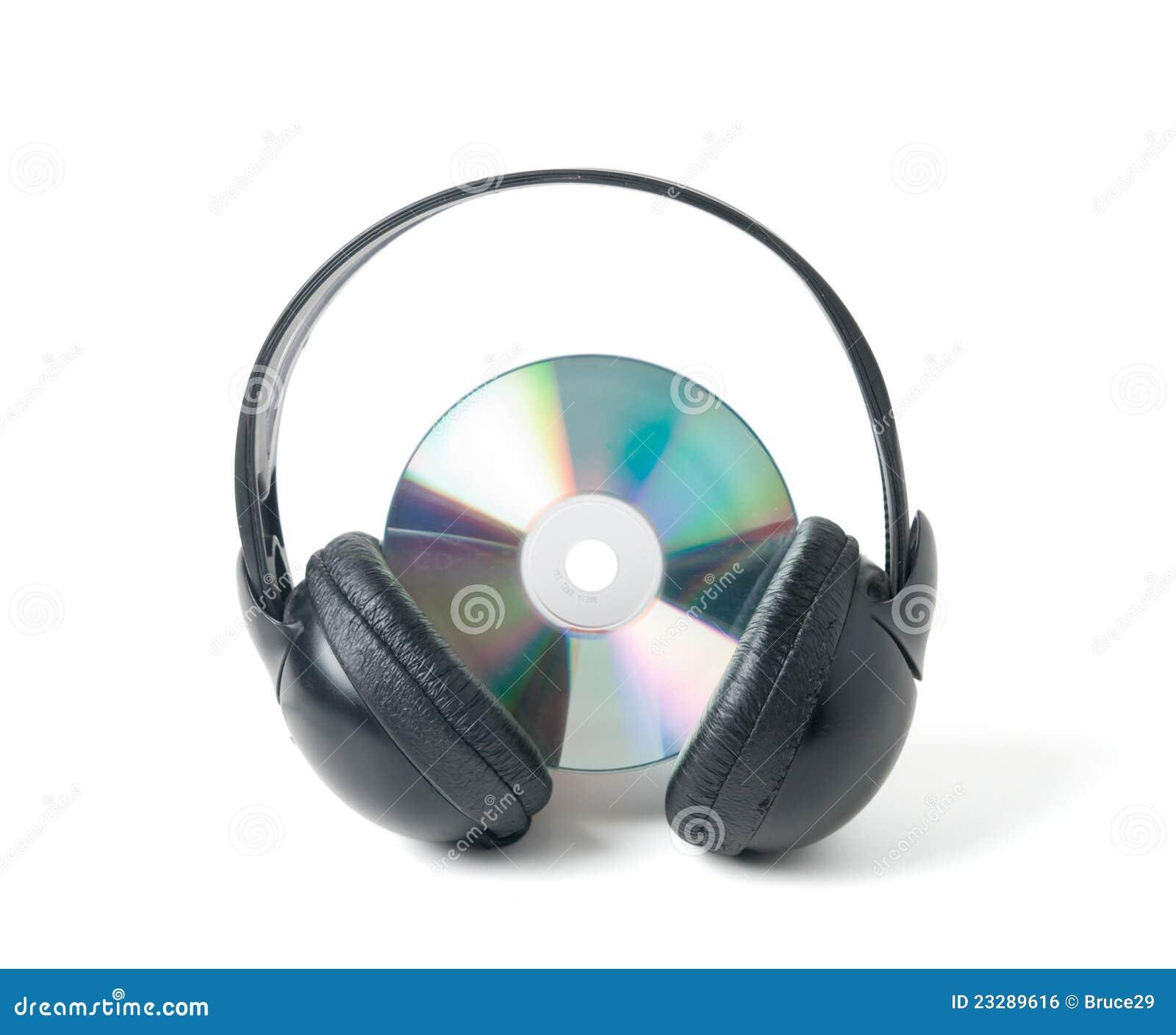 CD y auriculares de la música