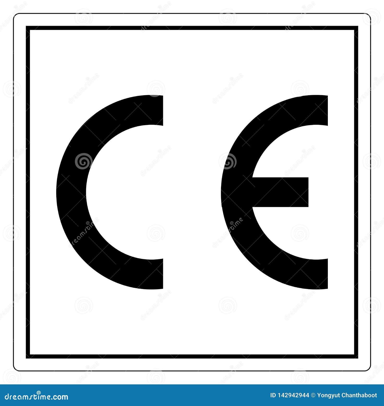 CE Mark Symbol Sign, vektorillustration, isolat p? den vita bakgrundsetiketten EPS10