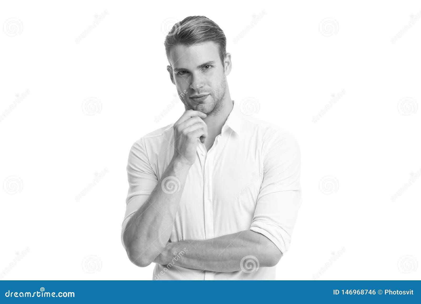 Ce qui si Homme avec le fond blanc de pens?e de visage s?rieux de poil Poil r?fl?chi barbu de contacts de type sur le menton
