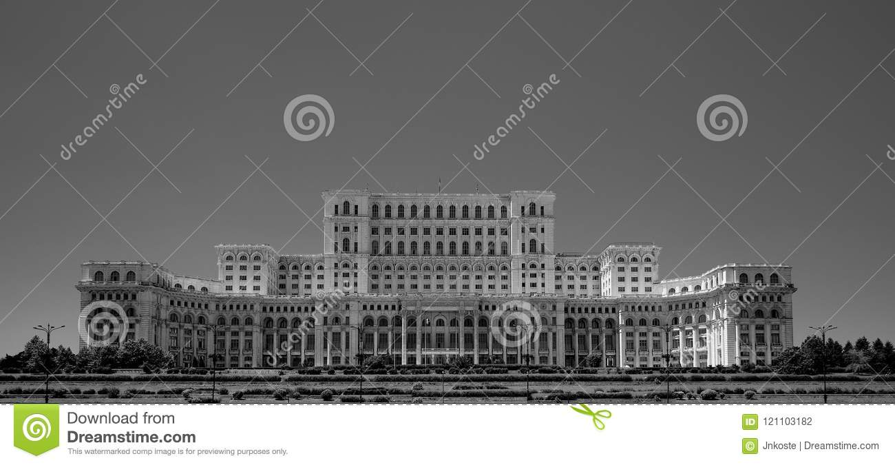 Ceausescu Palace of the Parliament Bucharest Romania in blacka and white