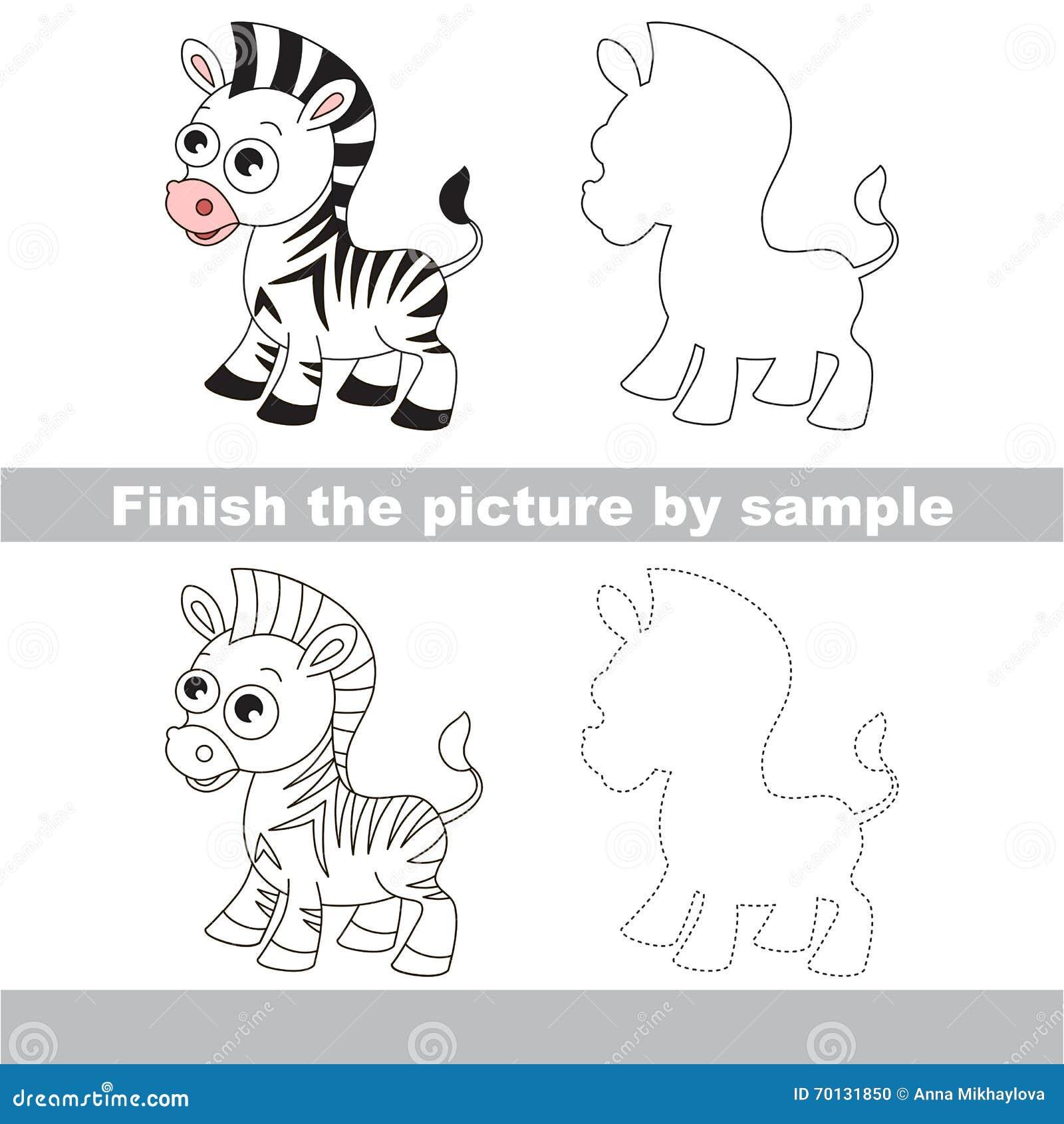 Cebra Hoja De Trabajo Del Dibujo Stock de ilustración - Ilustración ...