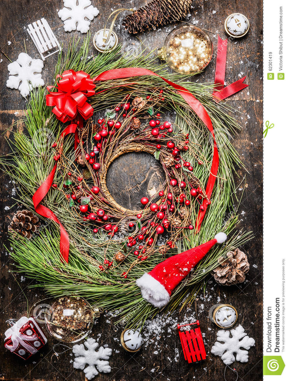 Cedar christmas wreath with winter berries ribbon and