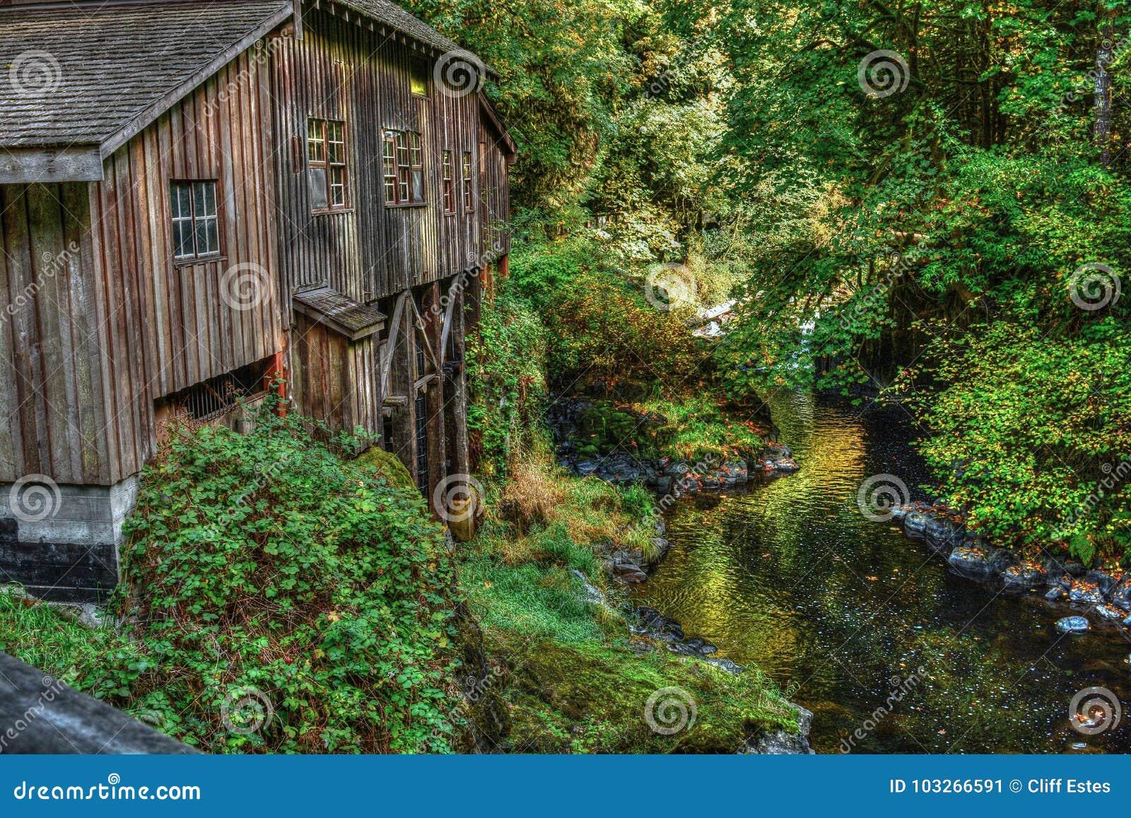 Cedar Creek Grist Mill nära skogsmark, Washington State