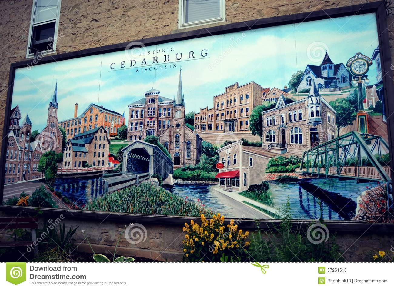 Cedarburg wisconsin mural editorial photo image of mural for Mural on building