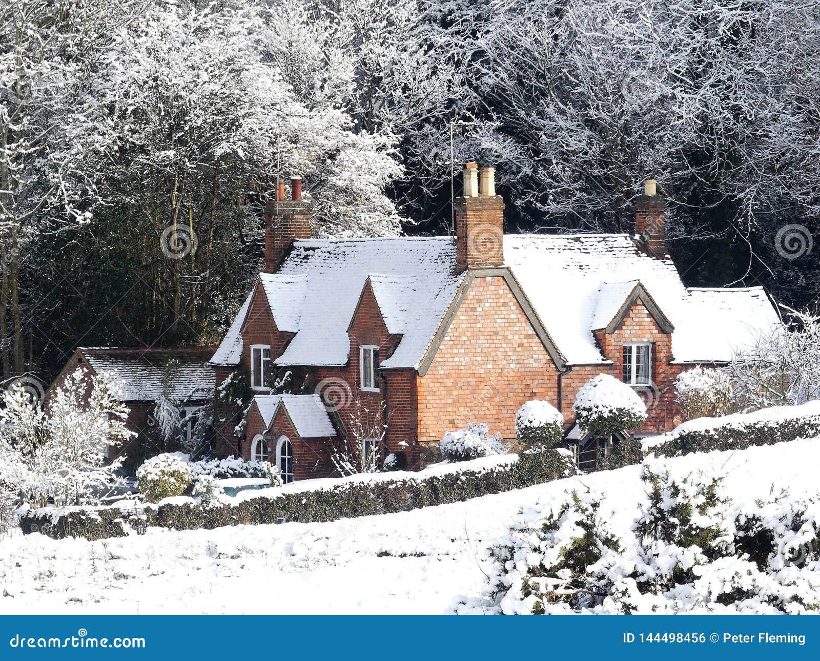 Cedr chałupa, Psi psiarni pas ruchu, Chorleywood w zima śniegu