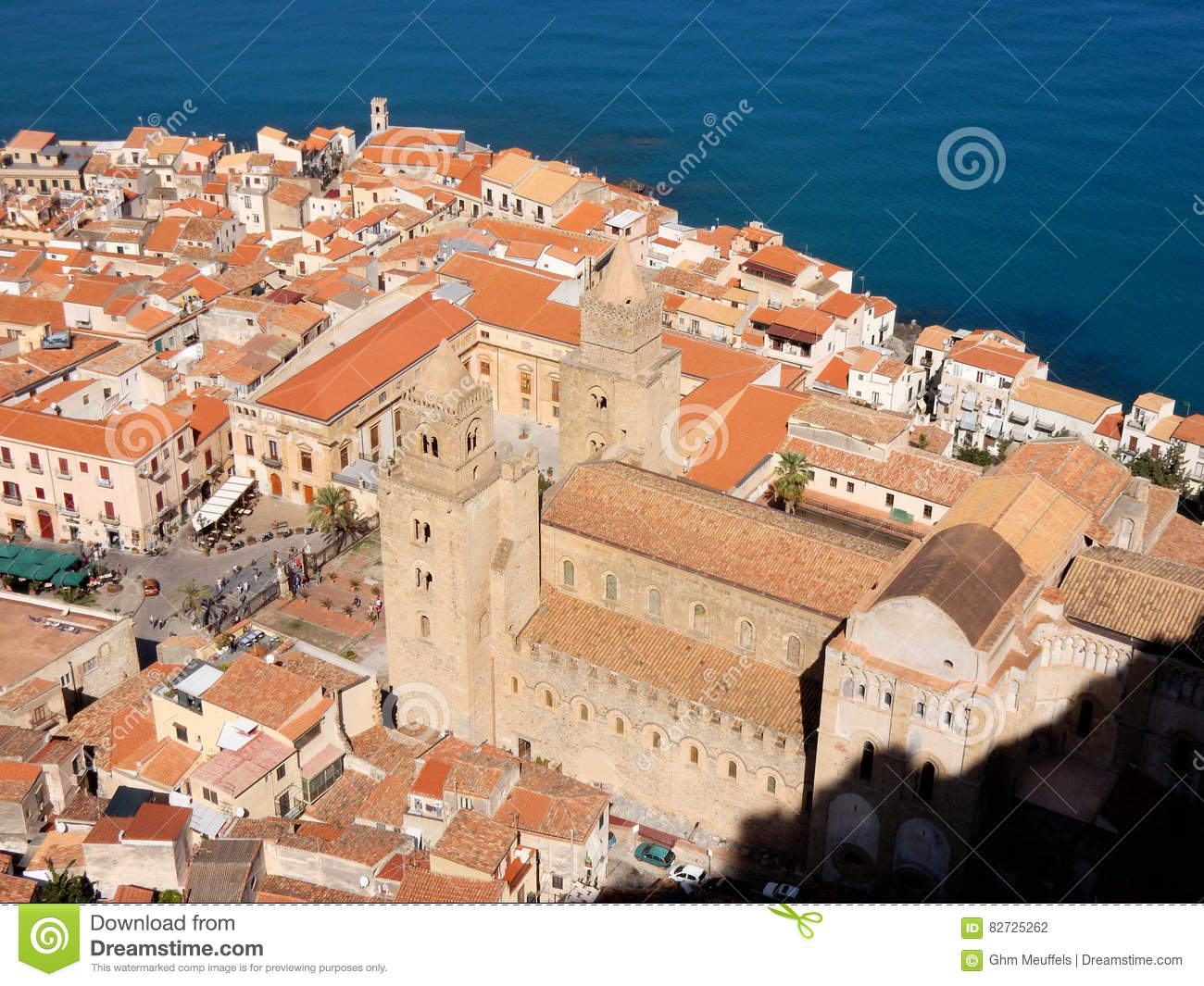 Cefalu city view above with Cathedral-Basilica, Sicily