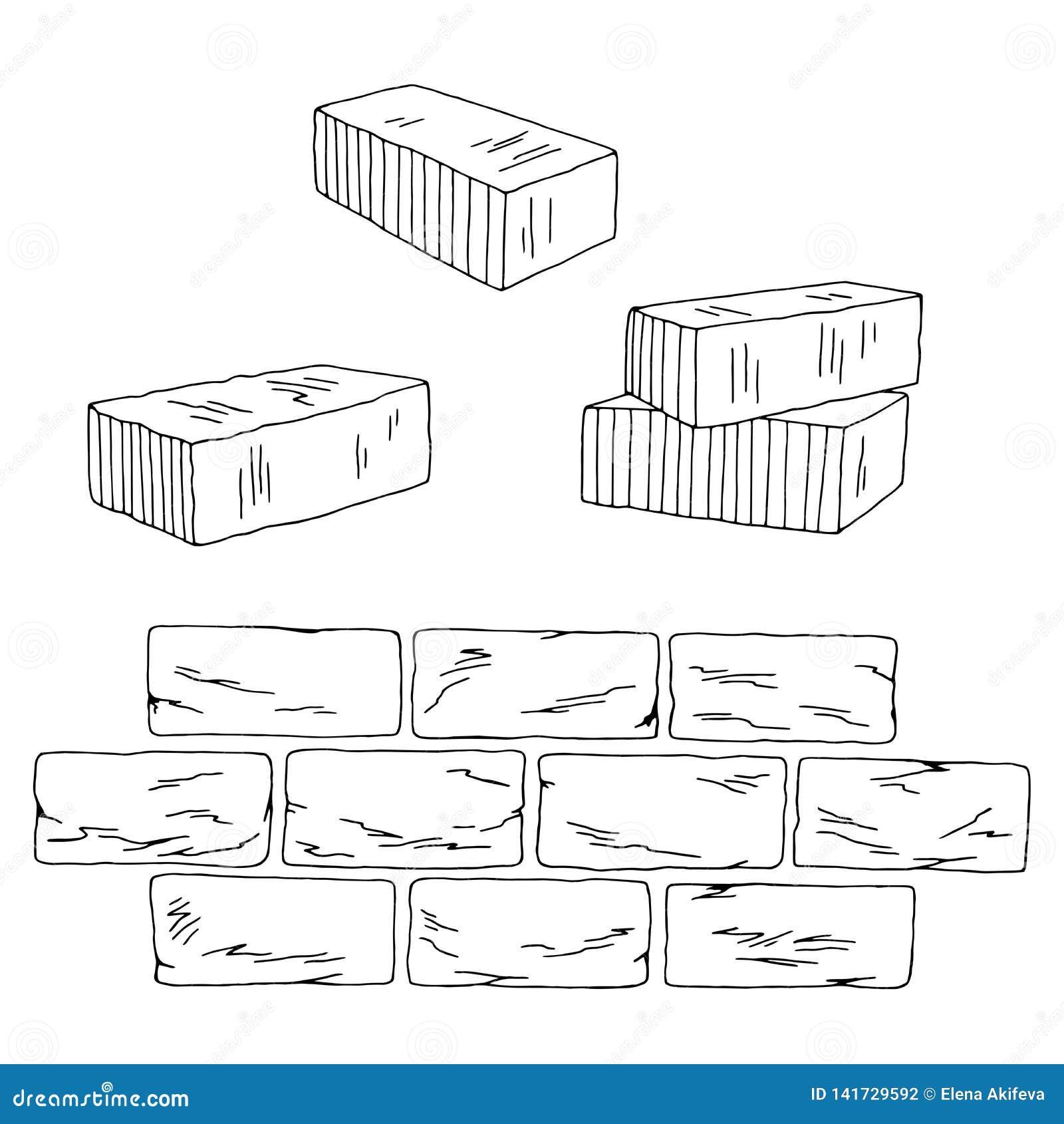 Cegły nakreślenia ilustracji ustalony graficzny czarny biały odosobniony wektor