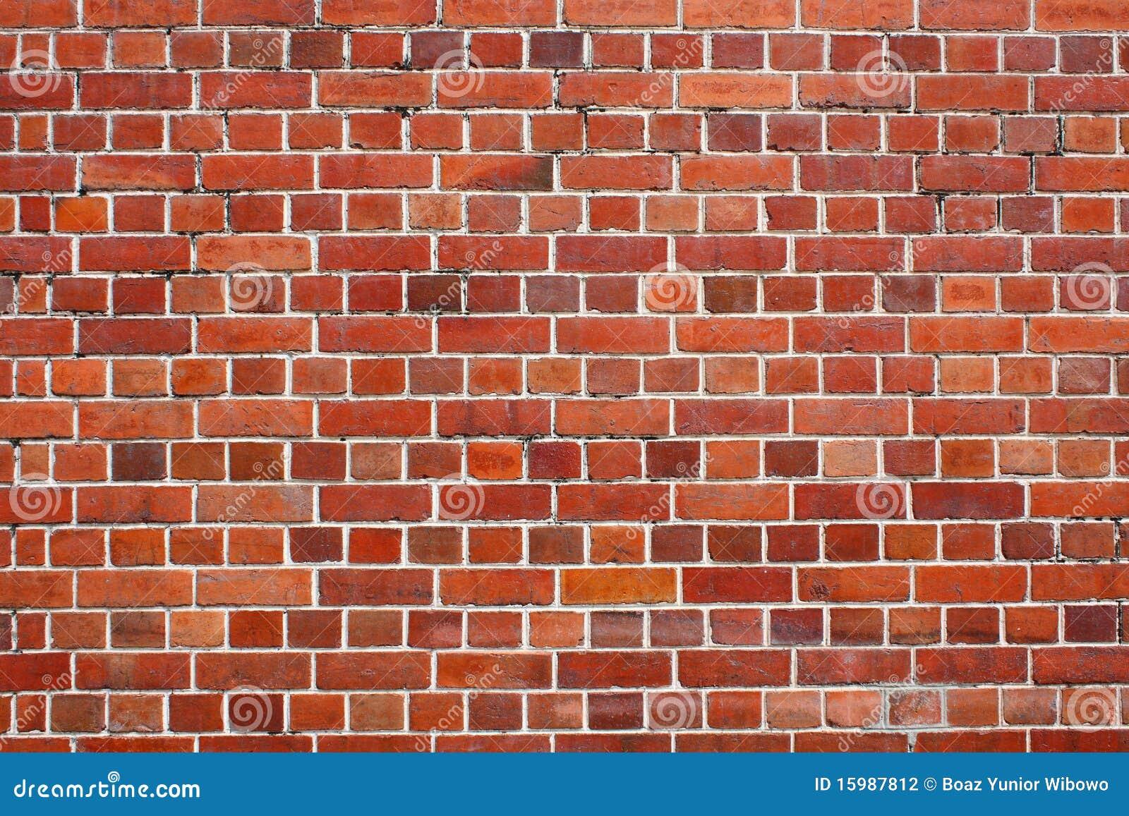 Ceglanej czerwieni ściana