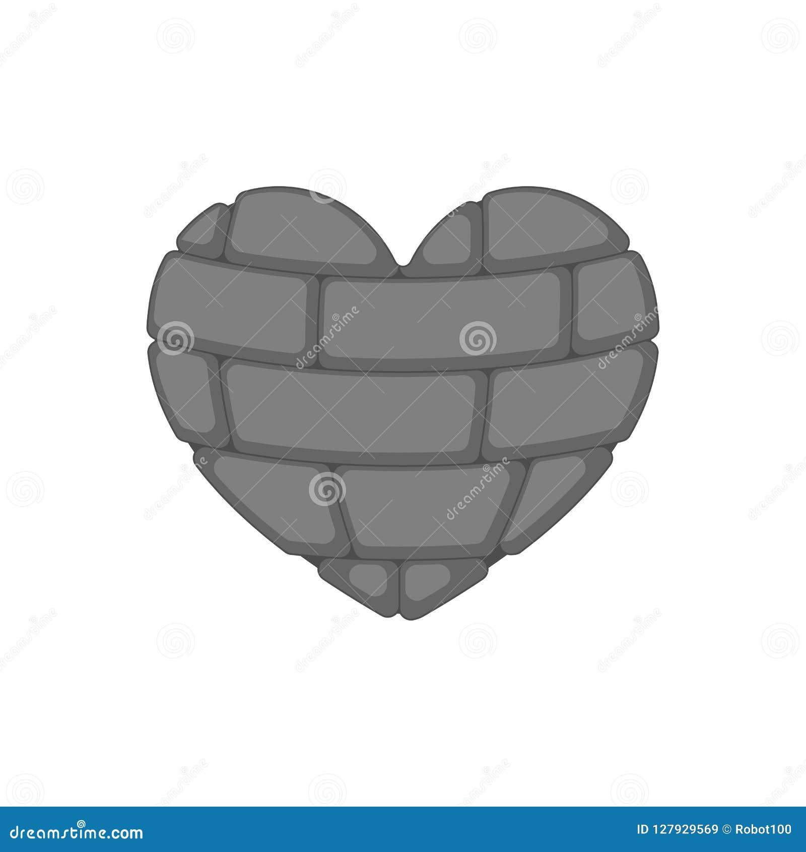 Ceglany serce odizolowywający Rockowy wewnętrzny organ miłość symbolu wektor il