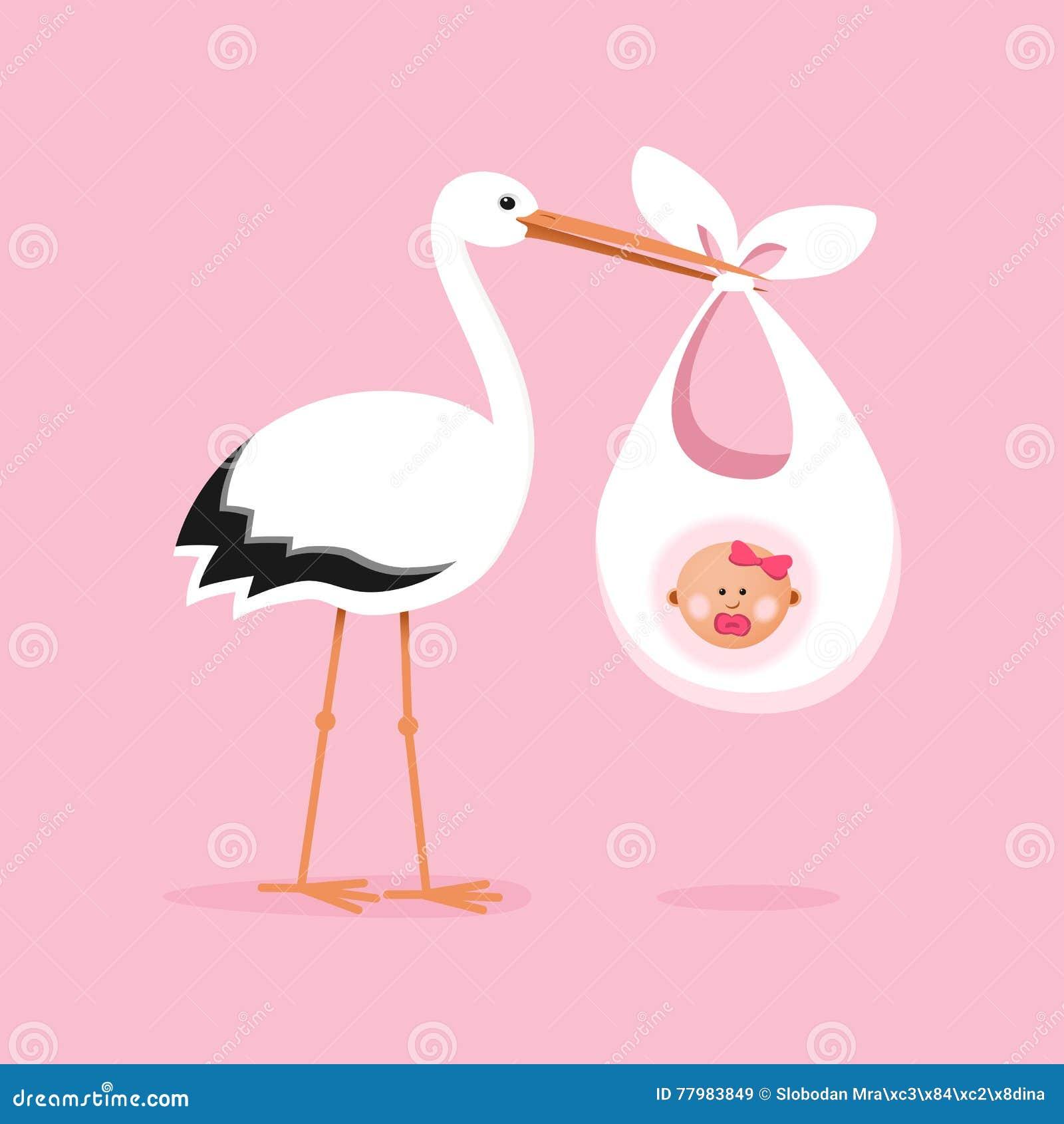 Cegonha que leva um bebê bonito