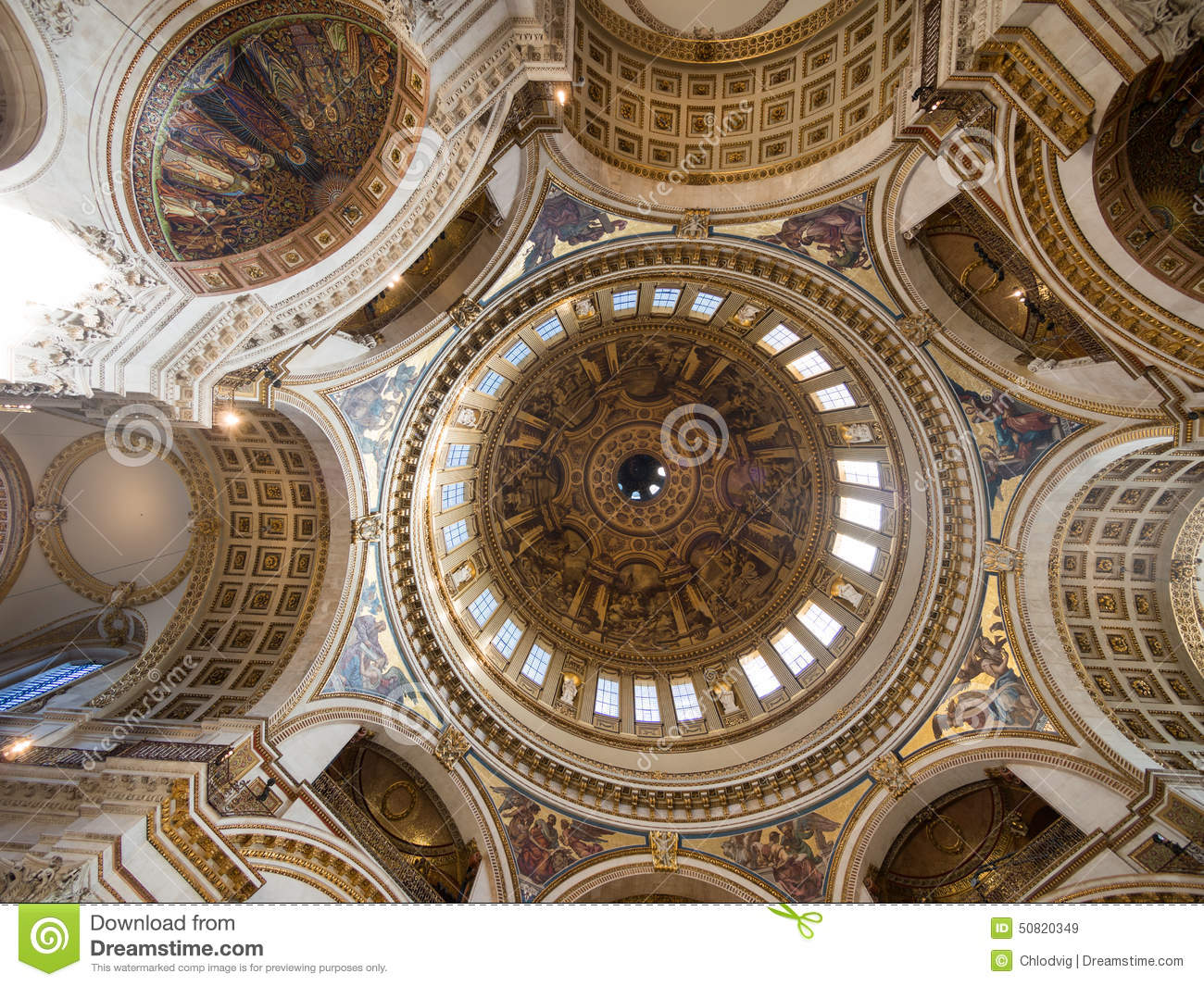Ceiling amd interior view of st pauls cathedral editorial for English baroque architecture