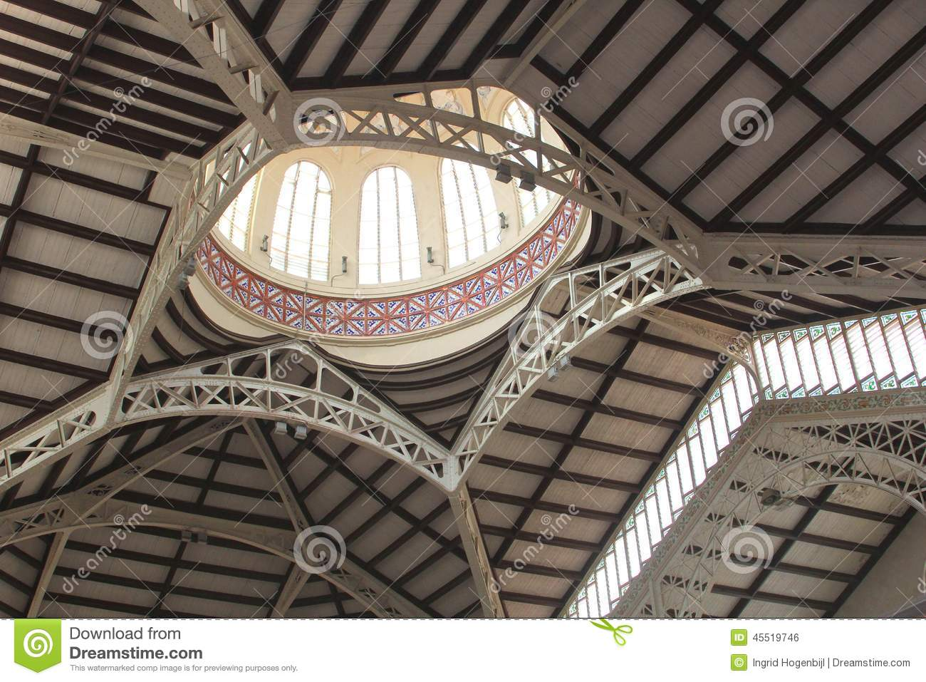 Ceiling Of The Central Market In Art Nouveau Style, Valencia, Spain Stock Photo - Image: 45519746