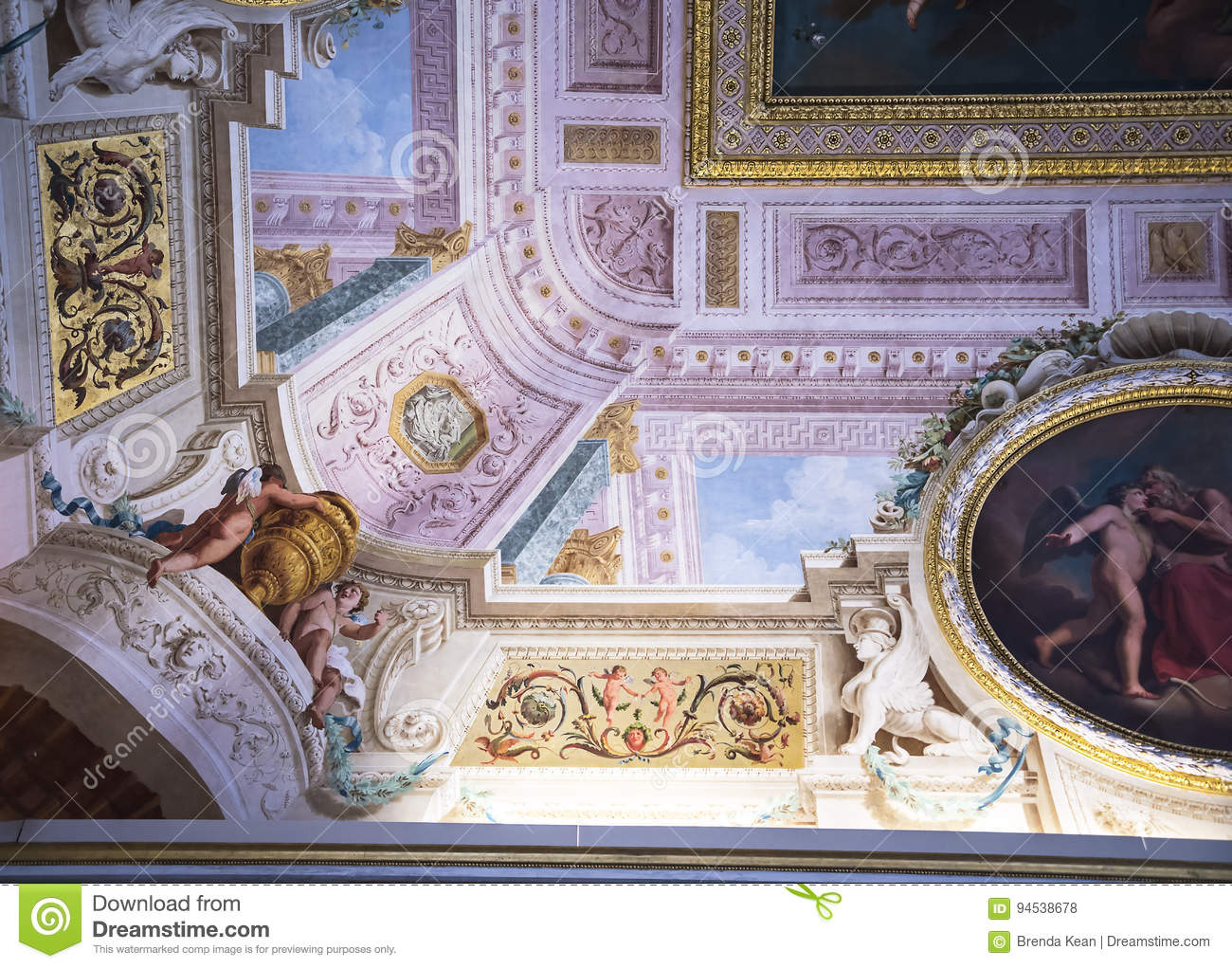 Ceiling in the Borghese Collection in Villa Borghese Rome Italy