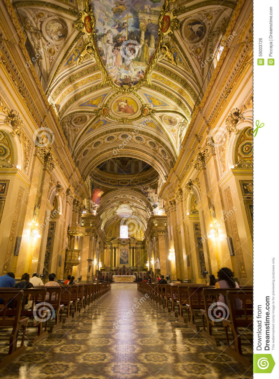 ceiling of the cathedral of cordoba argentina stock photo image
