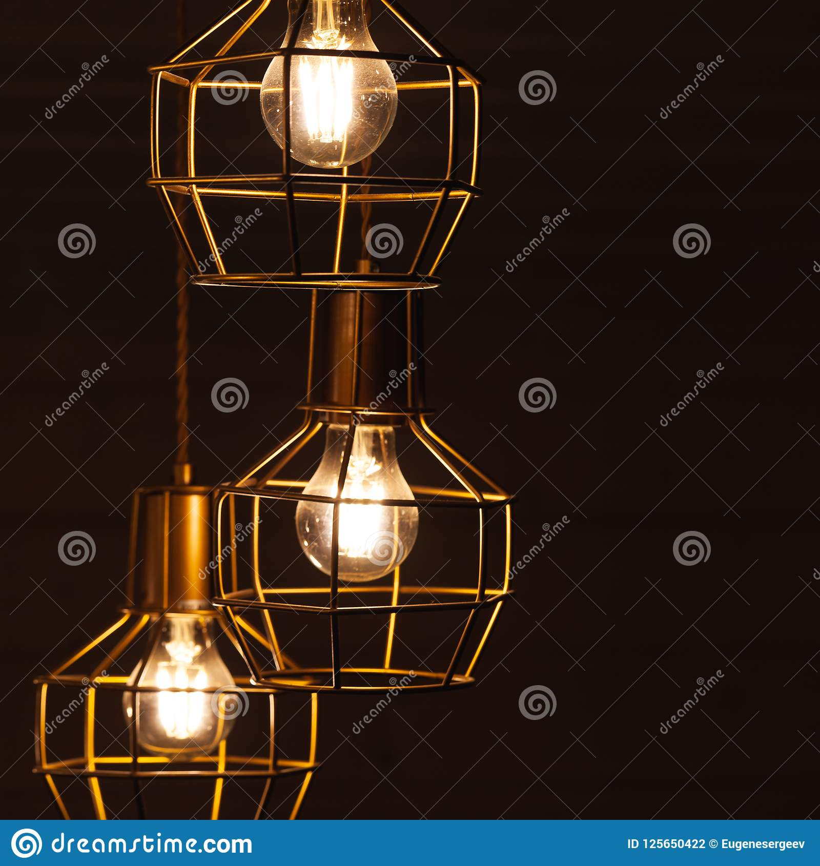Ceiling chandelier with hanging three bulb lamps stock photo image download ceiling chandelier with hanging three bulb lamps stock photo image of illumination contemporary greentooth Gallery