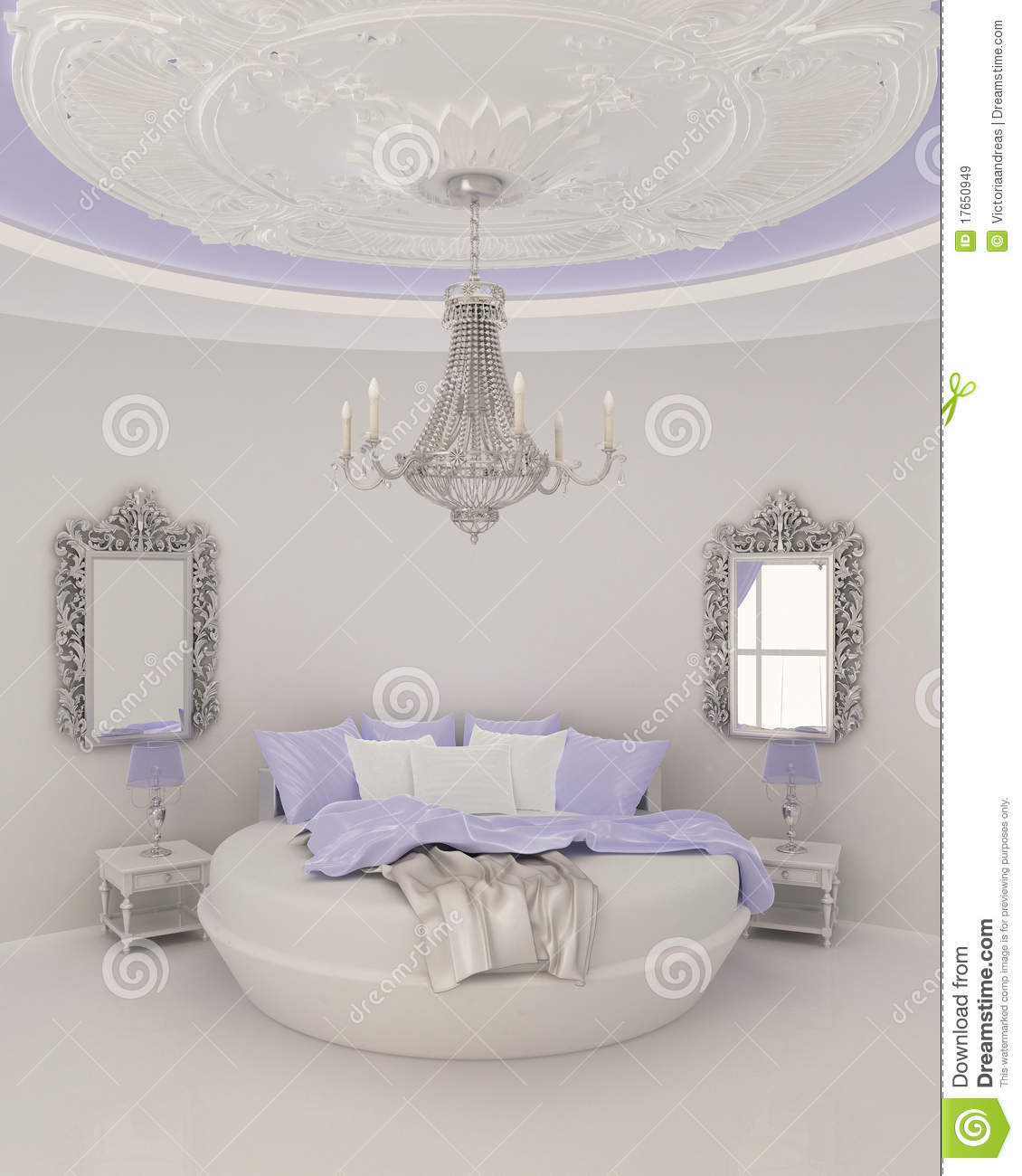 Ceiling Decor In Modern Bedroom Stock Illustration