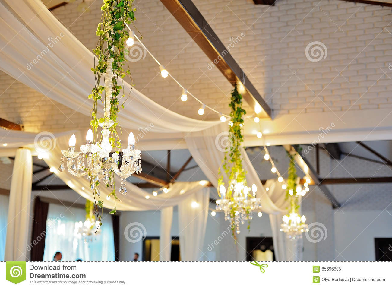 Ceiling Decor With Tulle And Eclectic Chandeliers Stock Image ...