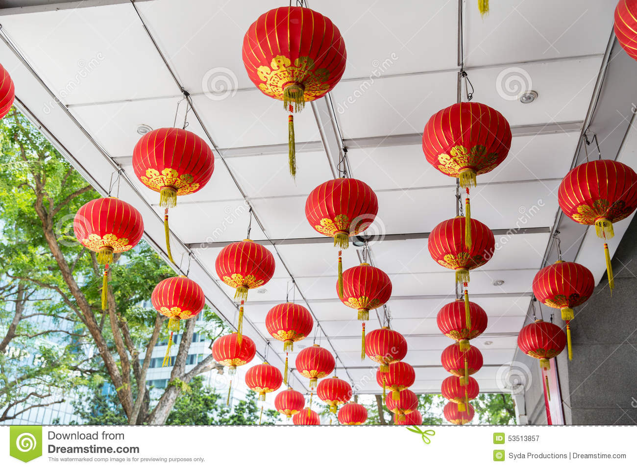 Ceiling Decorated With Hanging Chinese Lanterns Stock