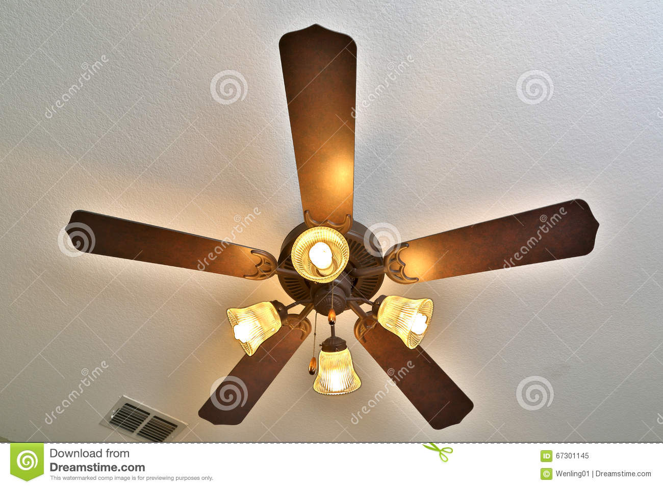 Ceiling fan with lights on