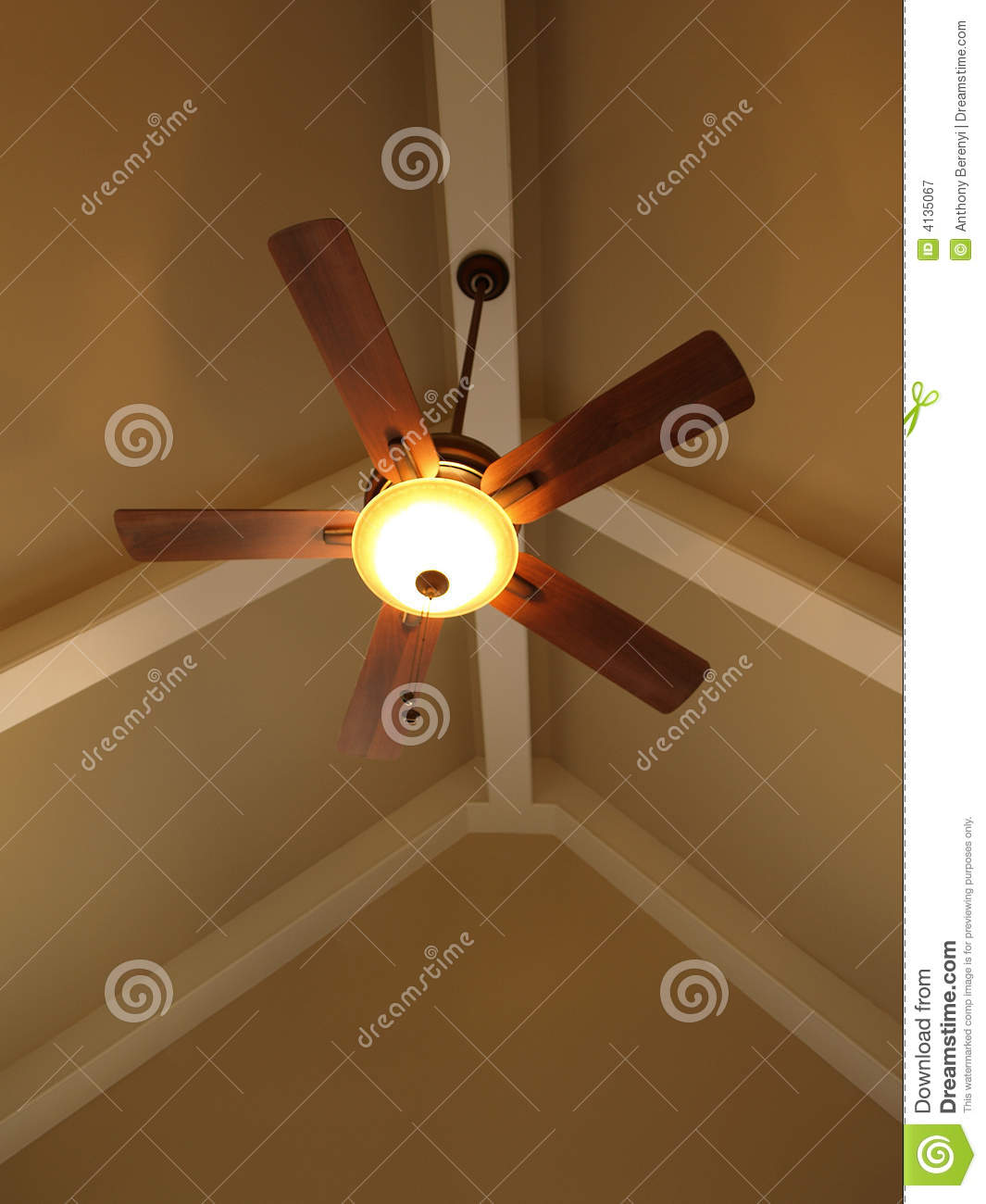 Ceiling Fan In Vaulted Ceiling Stock Image Image Of