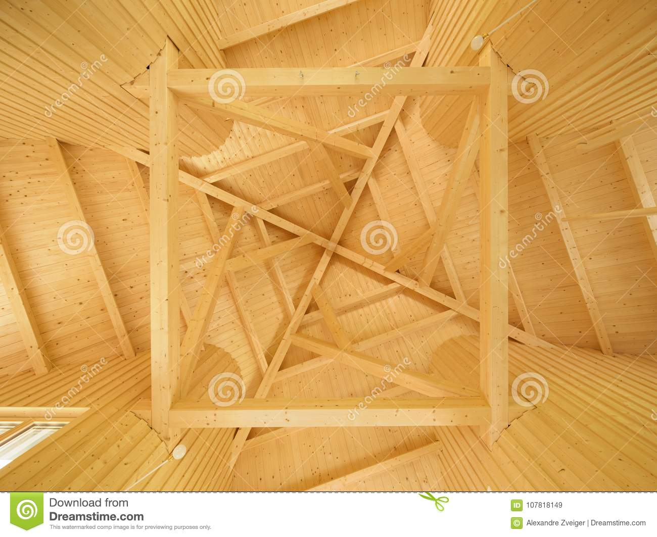 Ceiling with geometric pattern of wooden beams