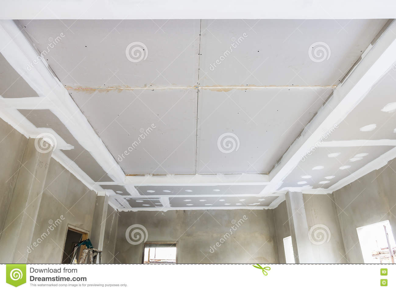 ceiling gypsum board stock image. image of architecture - 72650201