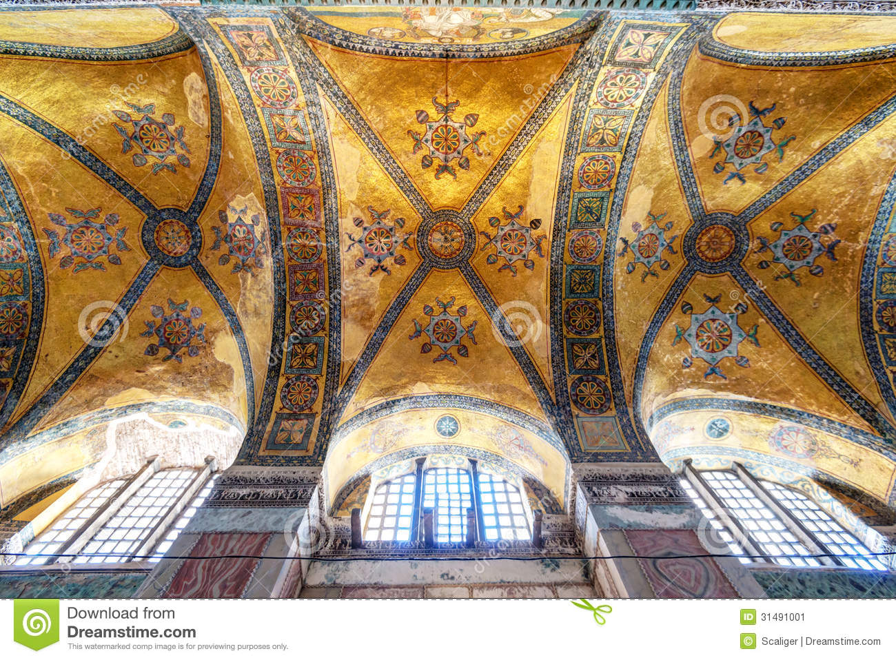 The ceiling of the Hagia Sophia in Istanbul, Turkey