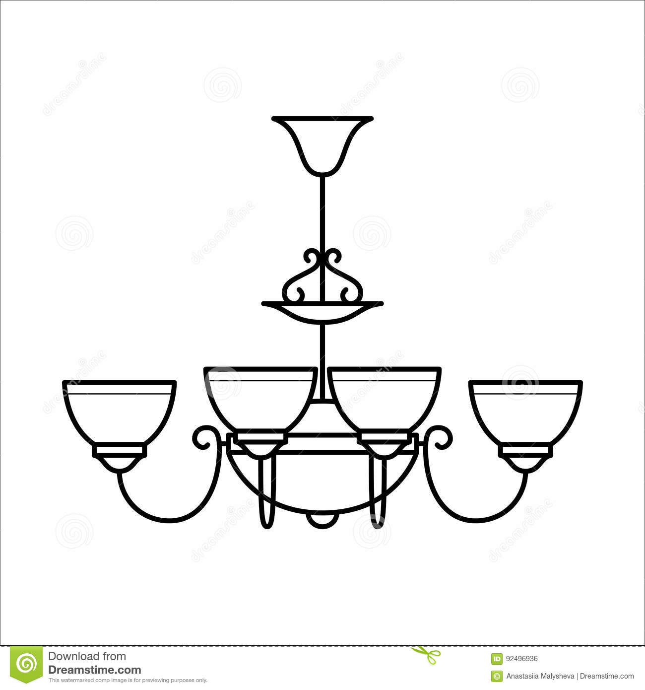 Hanging Lamp Vector: Ceiling Lamp In Outline Style. Stock Vector