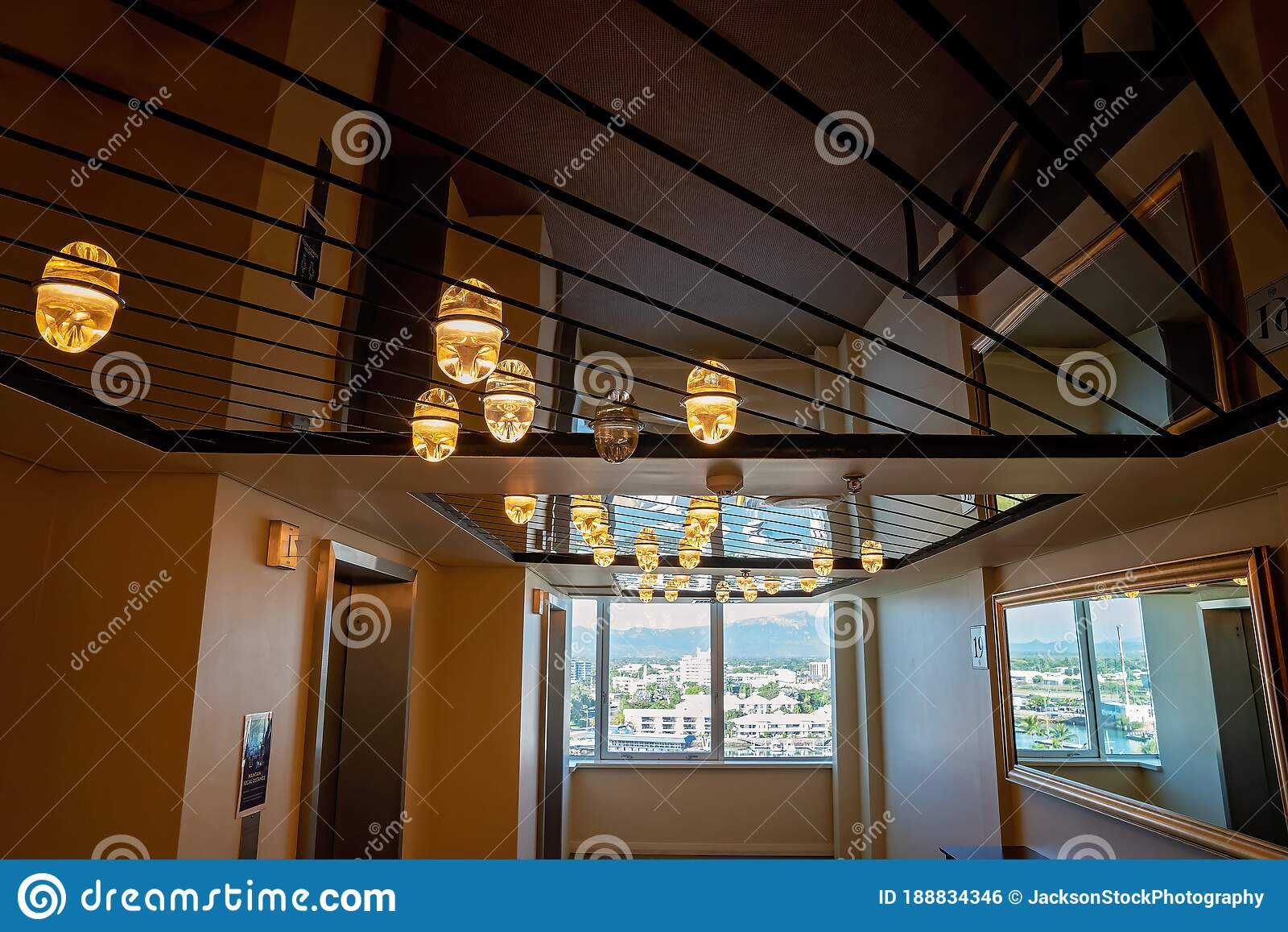 Ceiling Lights And A View At Luxury Hotel Editorial Photo Image Of City Architecture 188834346