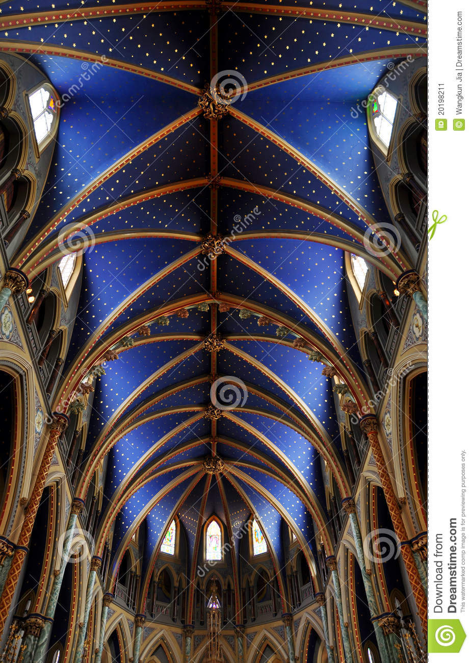 Ceiling Of Notre Dame Cathedral Basilica Ottawa Stock