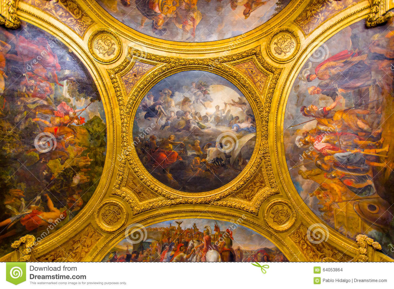 Ceiling painting in salon de diane palace of editorial - Salon de chat francais ...
