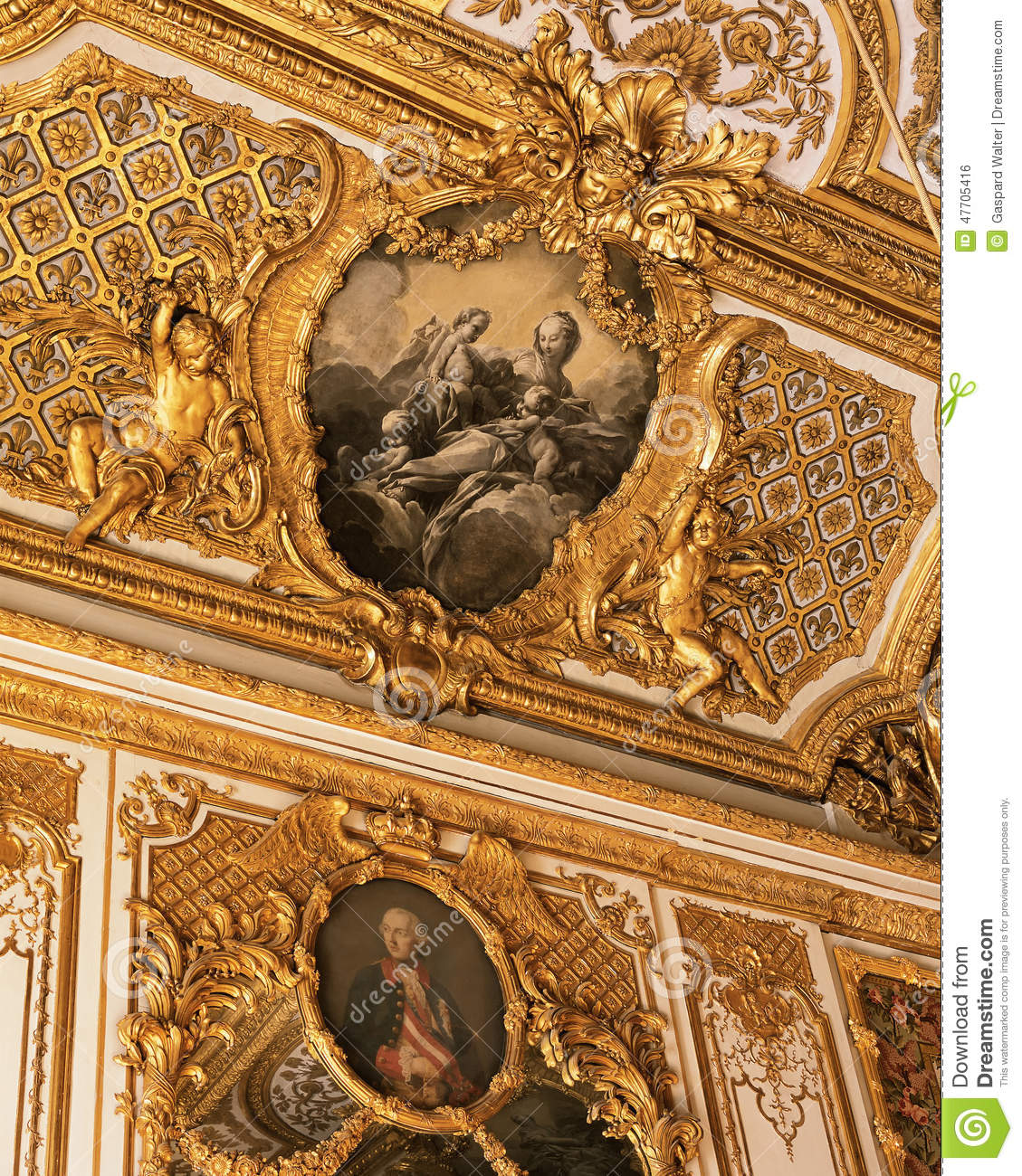 Ceiling from Queen Marie Antoinette bedroom at Versailles Palace