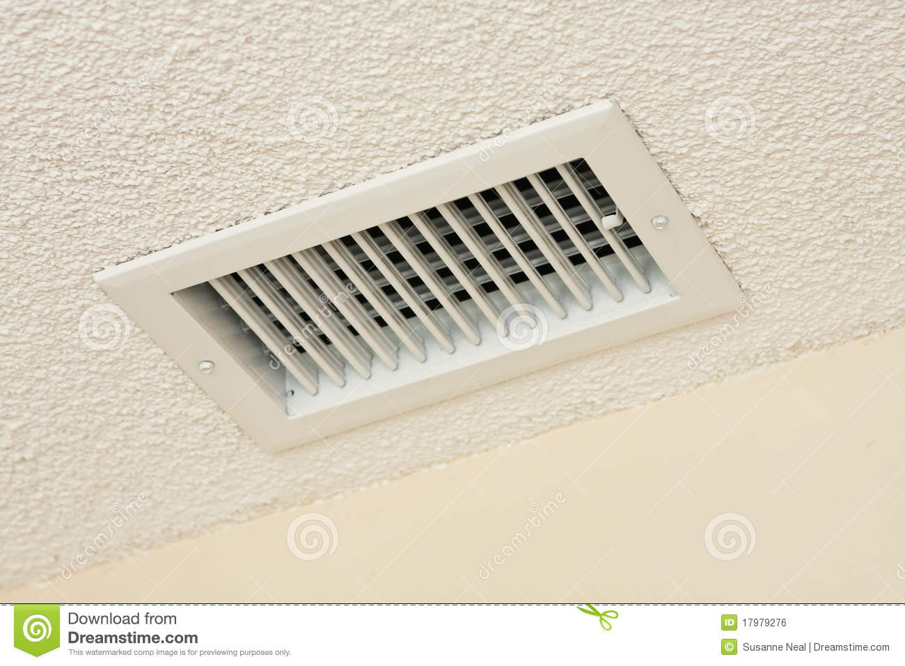 Ceiling Vent On Acoustic Ceiling Royalty Free Stock Image