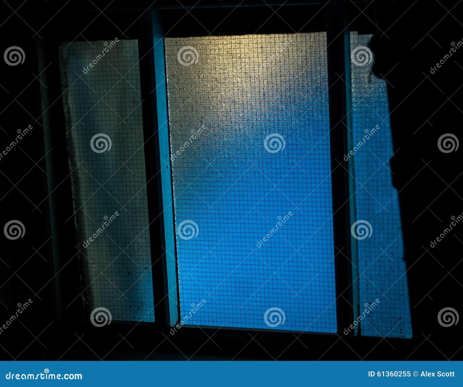 Open Window At Dusk: Ceiling Window At Dusk Stock Photo