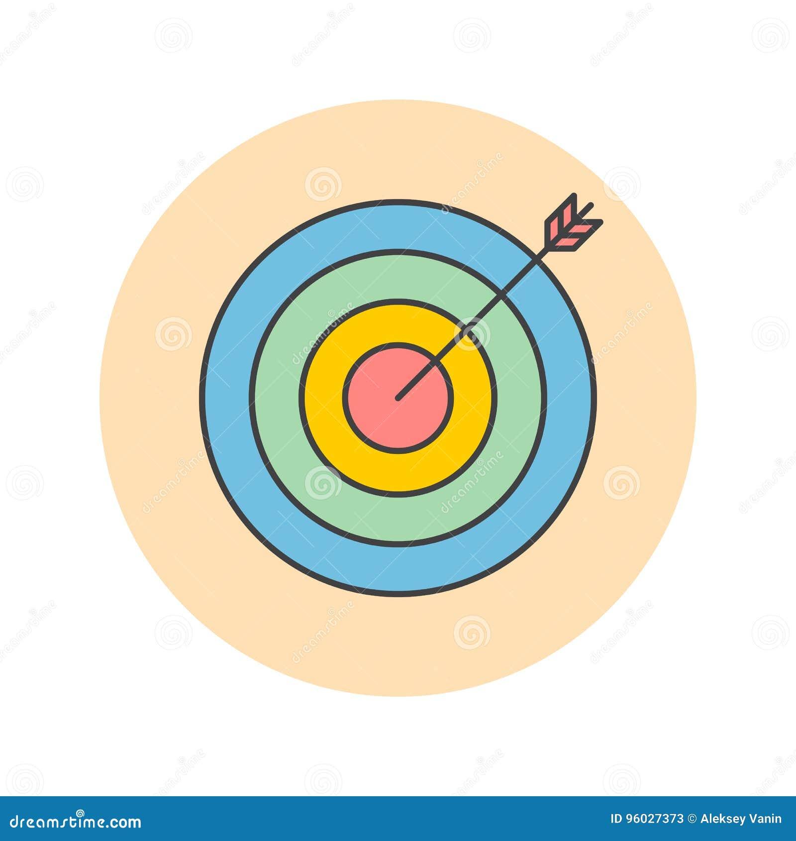 Cel cienka kreskowa ikona, bullseye wypełniał konturu loga wektorowego illus