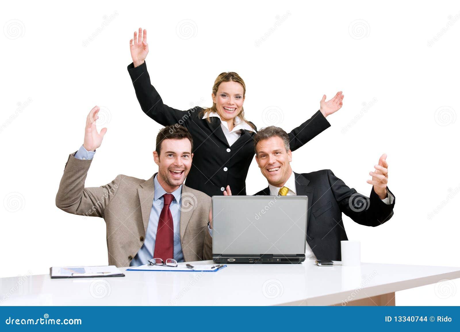 Celebração da equipe do negócio