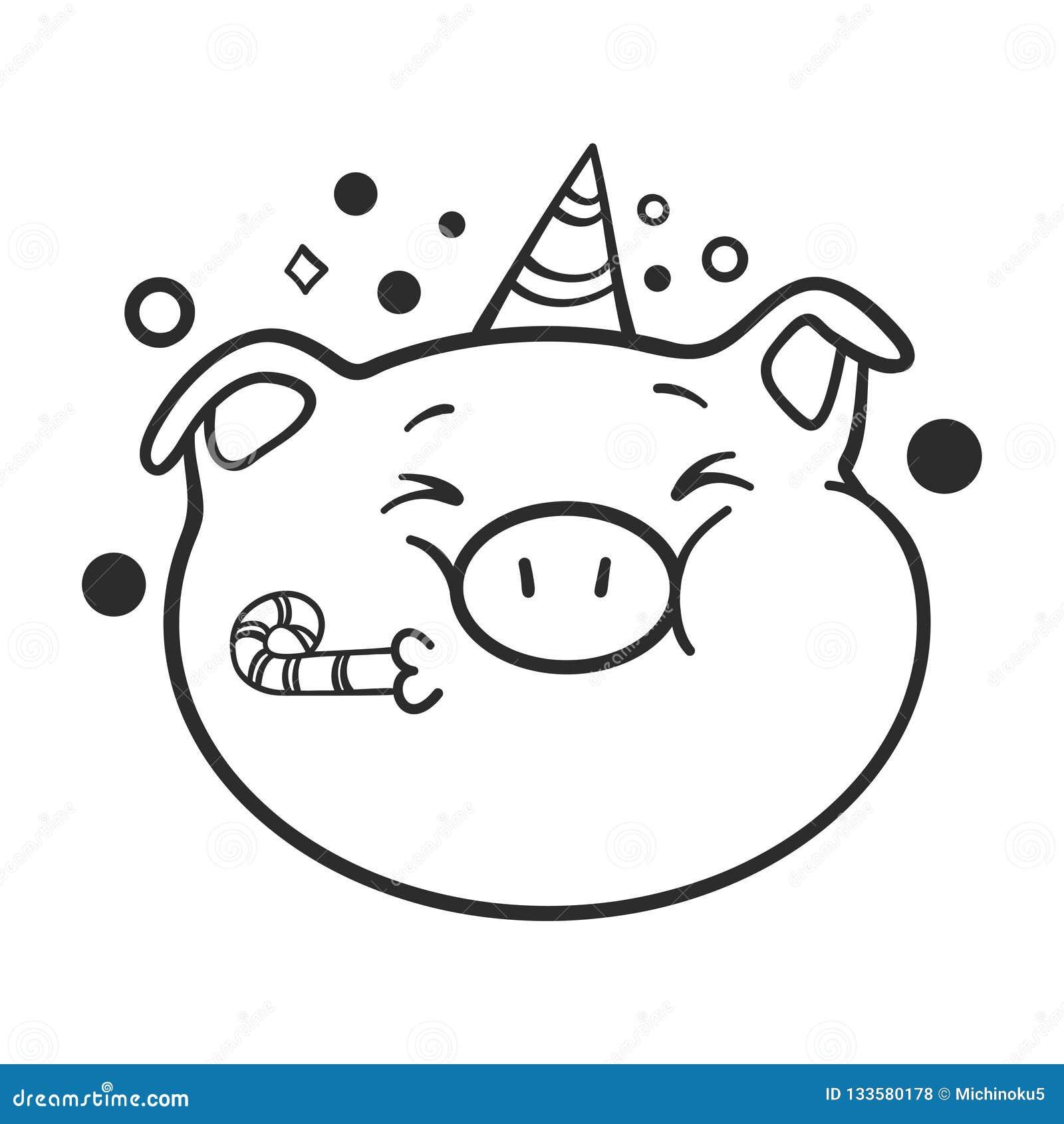 Celebración Del Icono Del Emoticon Un Cerdo Para El Libro De
