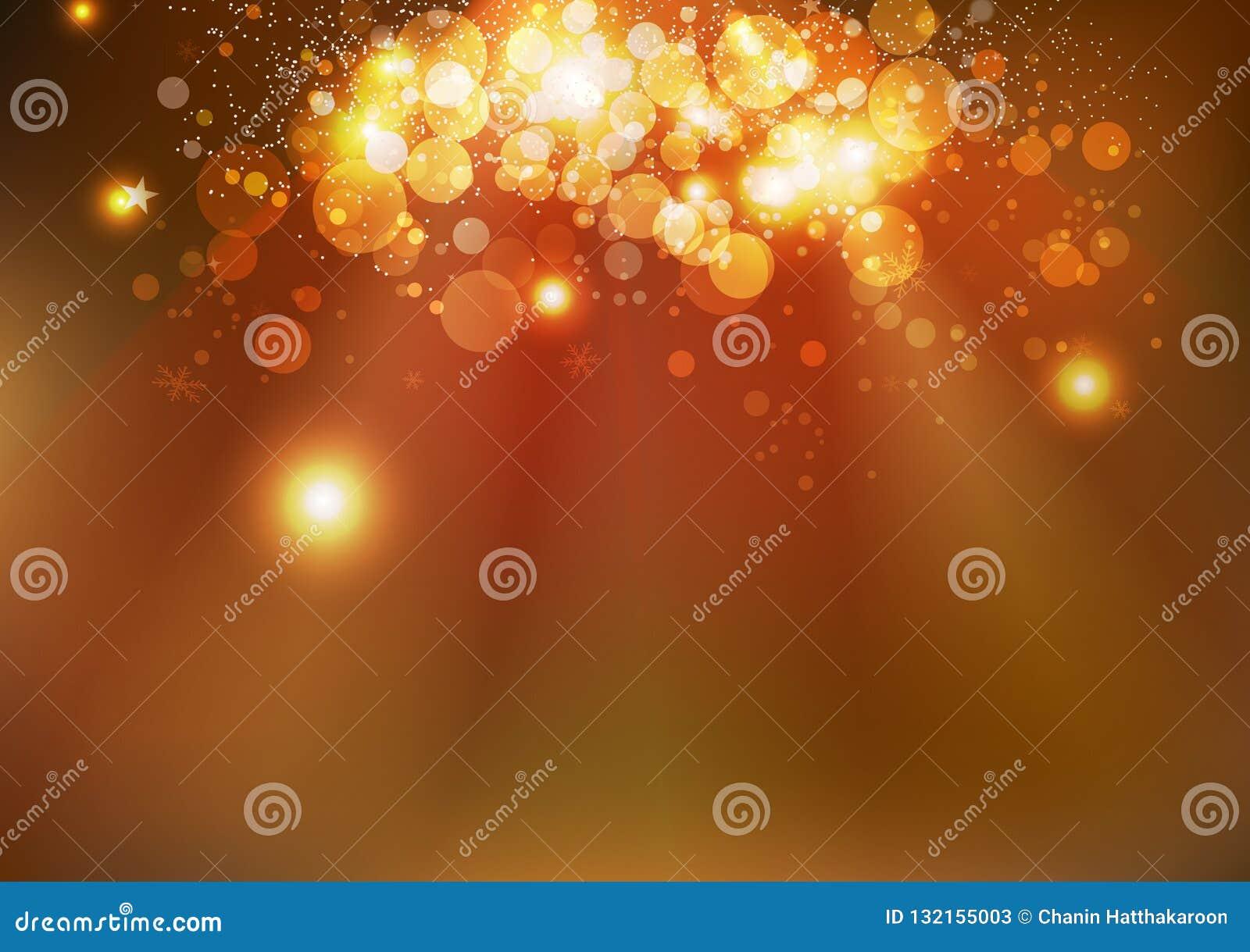 Celebración, estrellas mágicas del invierno del oro, SP que brilla intensamente de Bokeh de la Navidad
