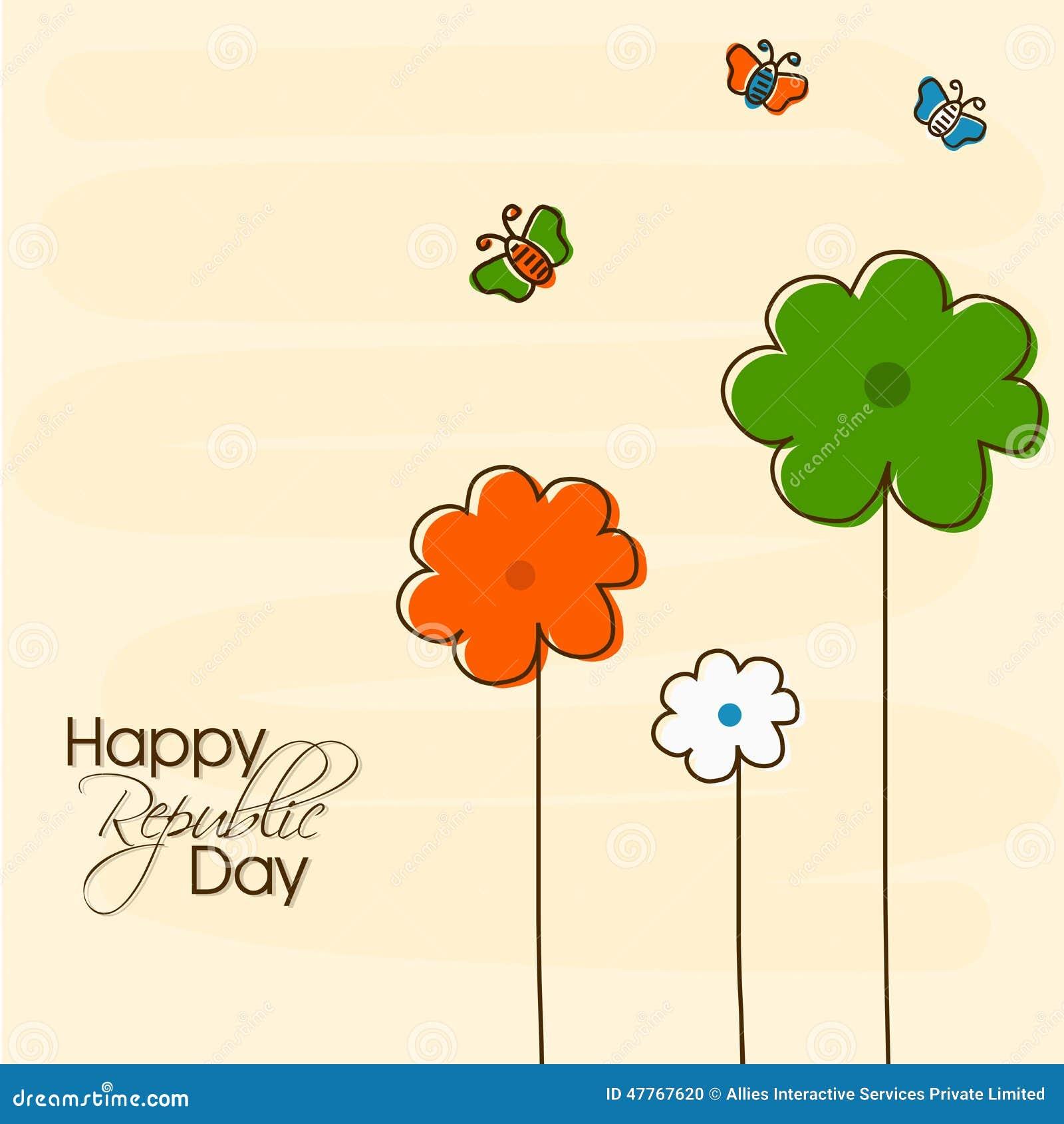 Celebración india del día de la república con las flores tricoloras