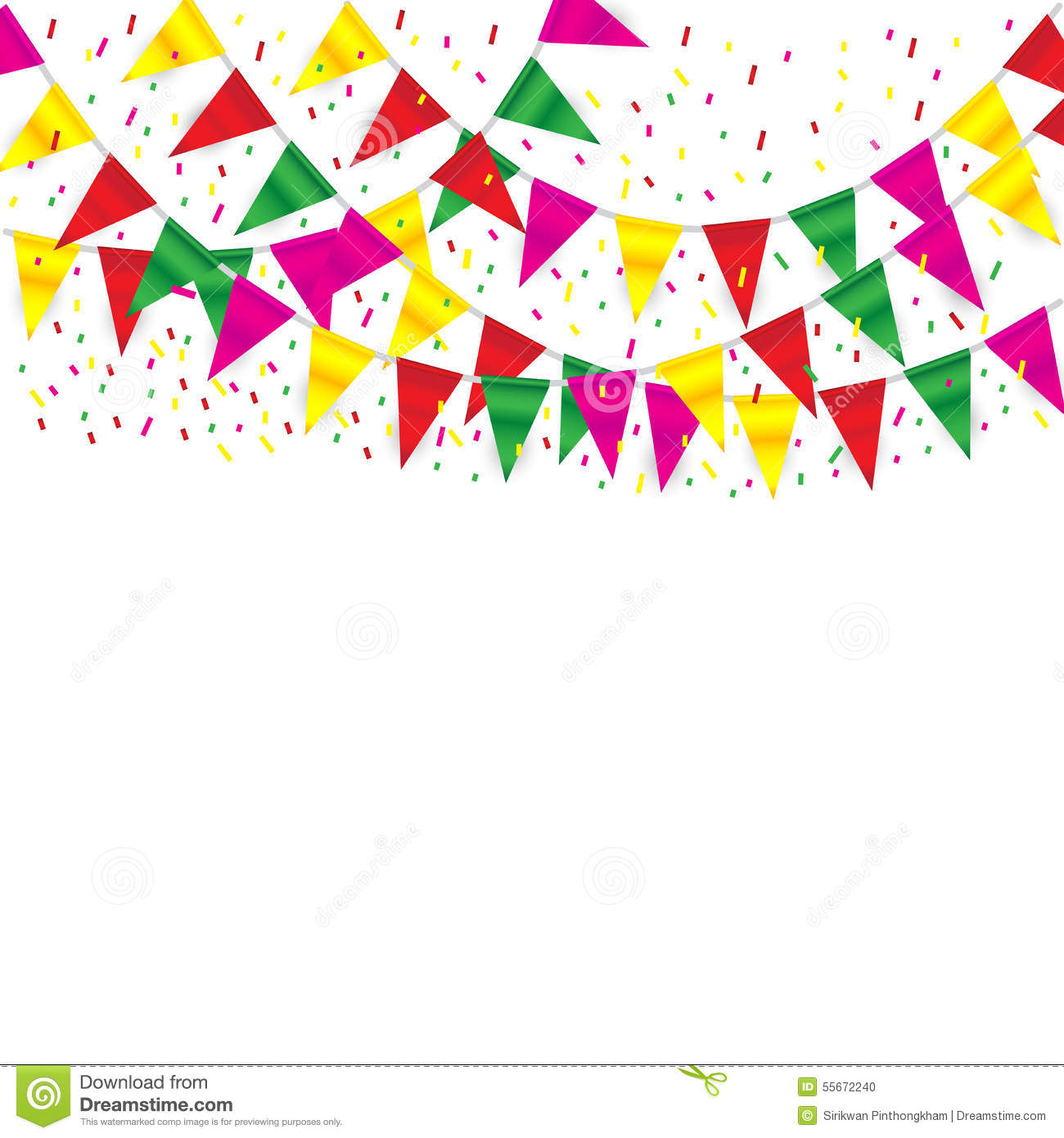 Celebrate Banner. Party Flags With Confetti Stock Vector - Image ...