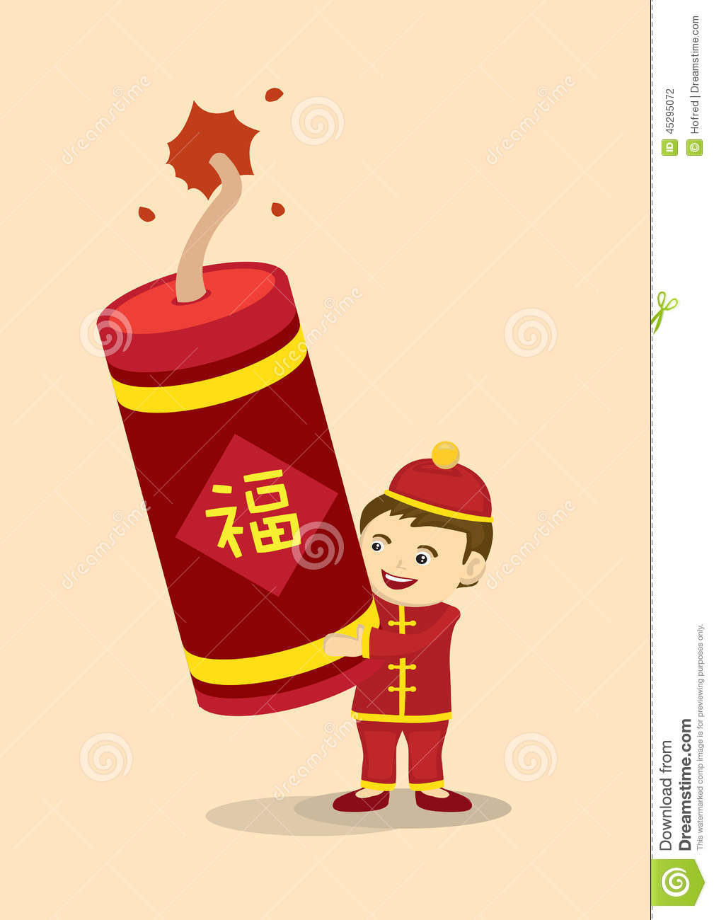 celebrate chinese new year with giant fire cracker stock
