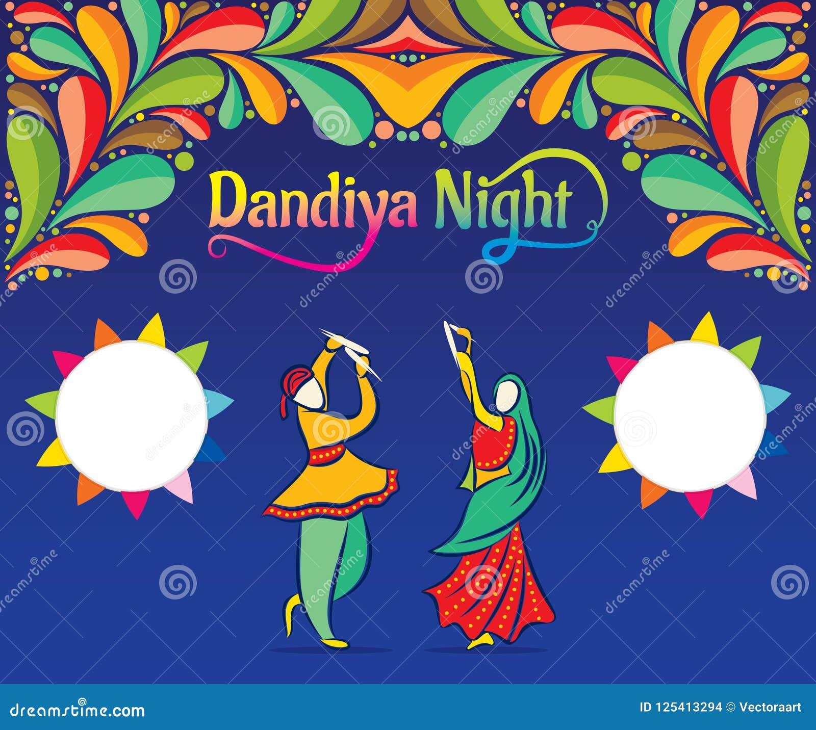 Celebrate Navratri Festival Greeting Card Design Stock